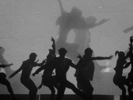 lyrical dance: Dancer�s silhouette (blackgrey) Stock Photo
