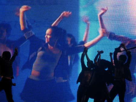 lyrical dance: Dancer&acute,s silhouette Stock Photo