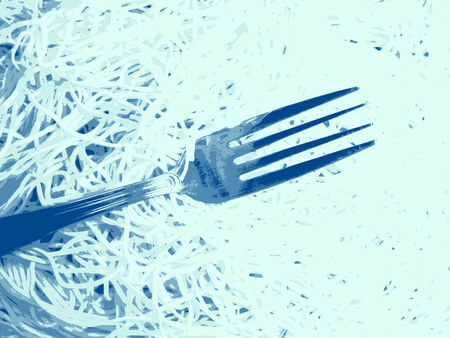 boiling water: Fork and spaghetti Stock Photo