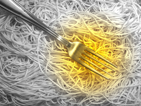 Fork and spaghetti photo