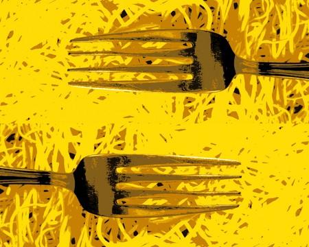 Forks and spaghetti photo