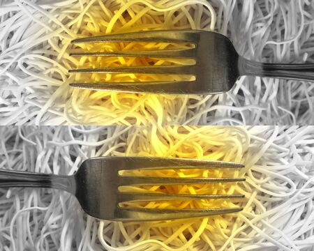 Forks and spaghetti photo