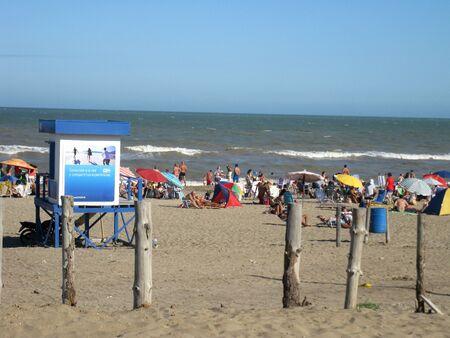 Pinamar beach, Buenos Aires province, Argentina, January 25, 2015, seashore, public area