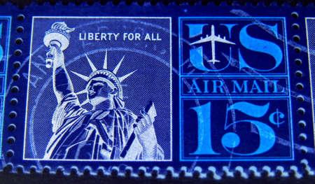 United States, circa 1970, Statue of Liberty postage stamp