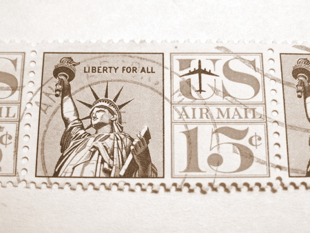 american downloads: United States, circa 1970, Statue of Liberty postage stamp