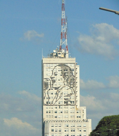 Argentina, Buenos Aires - May 12, 2018 - Eva Peron`s silhouette, standing in lateral of ministry building in 9 of July Avenue