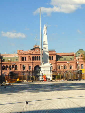 Argentina, Buenos Aires - May 12, 2018 - Argentina`s government house, best known as the Pink House, seen from May square.