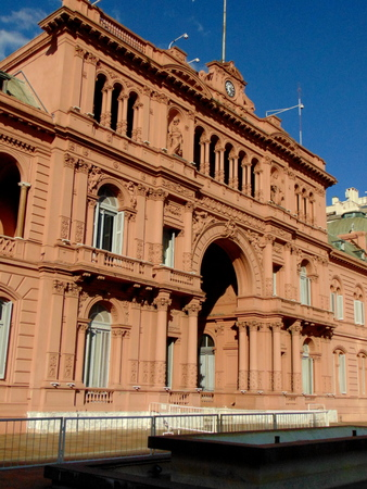 Argentina, Buenos Aires - May 12, 2018 - Argentina`s government house, best known as the Pink House Editorial