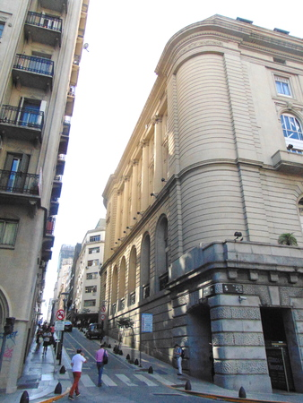 Buenos Aires, Argentina, March 22 of 2019, San Nicol?s neighborhood, financial neighborhood, intersection of LNAlem avenue with Sarmiento street