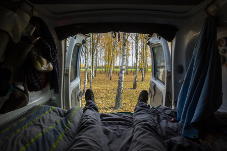 Van life backdoor view during a road trip in Poland.
