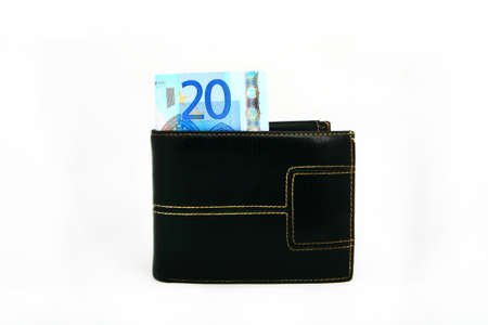 A wallet with money to use in everyday shopping. photo
