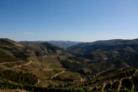 A river landscape the nature reserve of Geres, Portugal. The vineyards of the river Douro Portuguese wine to Porto.  photo