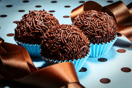 deliciously: Brigadeiro, sweet typical of Brazil found in children s parties Stock Photo