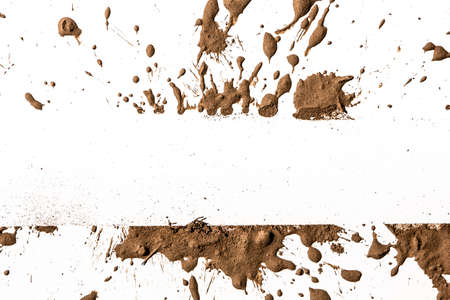 mud splatter: Texture clay moving in white