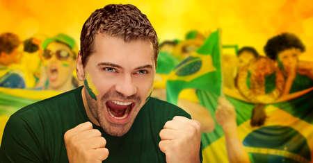 Fans brésiliens, le football Banque d'images - 27700677