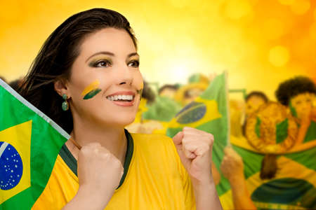 Brazilian fans, soccer Stock Photo