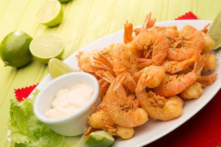 a portion: PORTION OF Fried Shrimp. Stock Photo