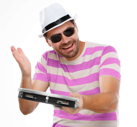merriment: Typical carnival man, samba with tambourine