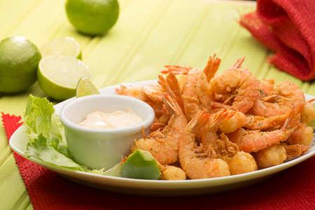 portion: PORTION OF Fried Shrimp. Stock Photo
