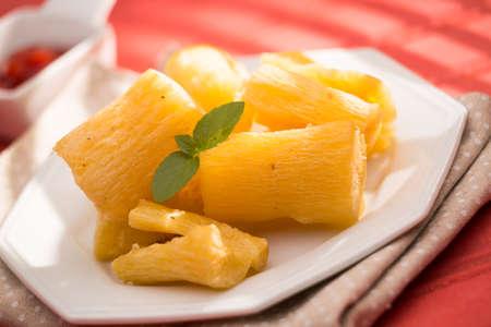 Brazilian food fried yucca. Deep fried cassava root. Imagens