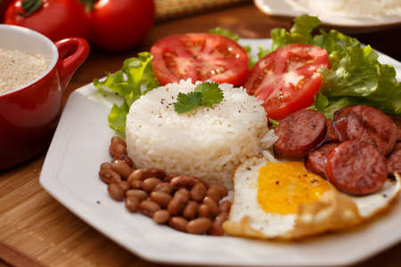 meat dish: Typical dish of Brazil, rice and beans