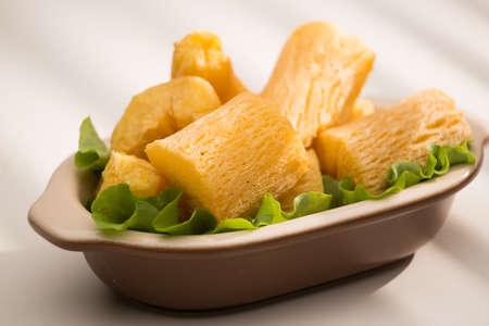 Brazilian food fried yucca. Deep fried cassava root