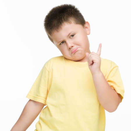 motioning: Funny Boy motioning with index finger Stock Photo