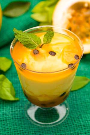 mousse: passion fruit mousse Stock Photo