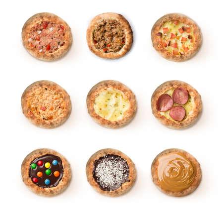 flavors: MANY FLAVORS delicius Sfiha BRAZILIAN MINIATURE. Stock Photo