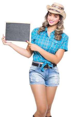 hick: Girl dressed in traditional Brazilian Jerk. Stock Photo