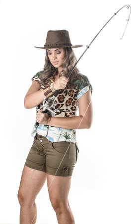 fisherwoman: Young fisherwoman posing isolated on white background Stock Photo