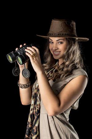 adventurous: Adventurous woman on safari