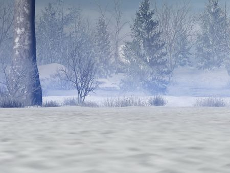 Rendered mystical and snowy forest photo