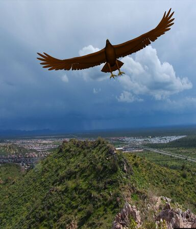Rendered eagle flying near houses in mountains Stock Photo