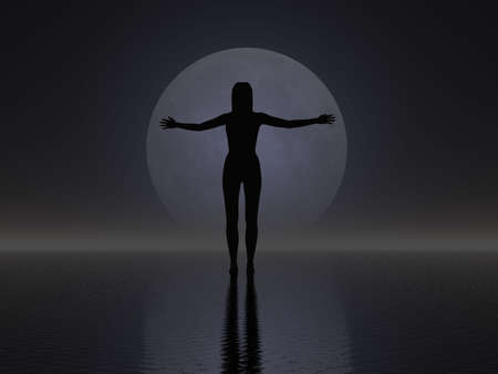 Surrealistic silhouette of a woman against the moon photo