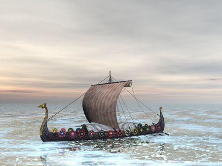 Viking dragón barco en el mar Foto de archivo - 285008