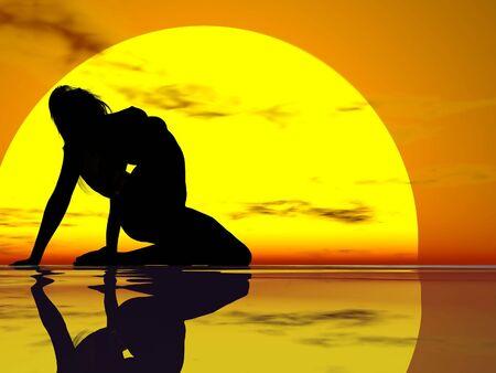 日没に対する女性のアーチ型のシルエット