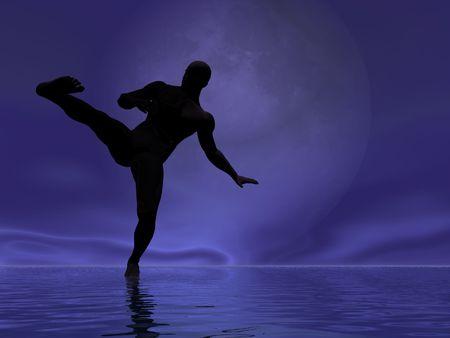 swordsmanship: Silhouette of a man combat kicking