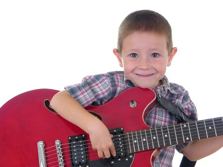 boy playing guitar: Boy playing an electric guitar