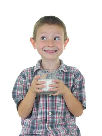 strong: Boy holding a glass of milk