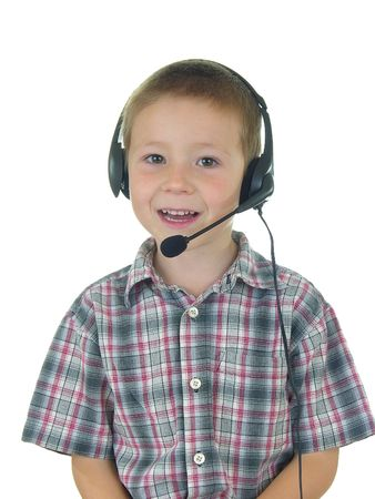 Boy talking on headset