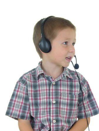 Boy taliking on a headset Stock fotó