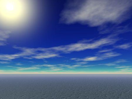 lonelyness: Bright sun rising over the desert