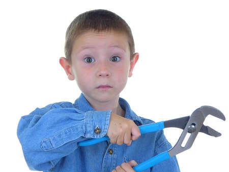 vise: Boy tornillo de banco con mordazas  Foto de archivo