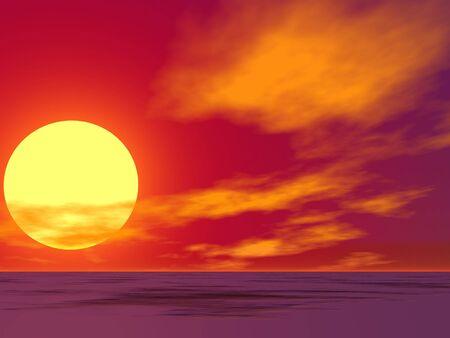 lonelyness: Brilliant sunrise over a vacant desert Stock Photo