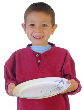 homeware: Boy holding out a plate