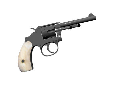 handled: Isolated pearl handled revolver