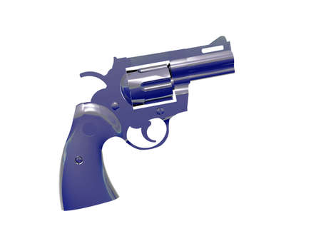 45 gun: Isolated Silver Blue Pistol