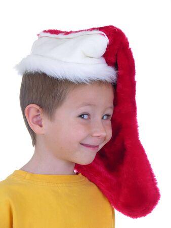 Boy wearing christmas cap
