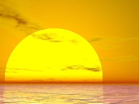 Sole brillante che aumenta sopra il mare
